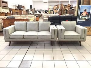 ROWLEY 3 SEATER + ARMCHAIR (BEIGE & WALNUT) Brisbane City Brisbane North West Preview