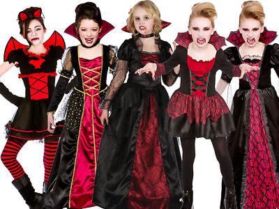 Gothic Halloween Costumes For Girls (Girls Vampire Costume Gothic Vampiress Fancy Dress Dracula Halloween Outfit)