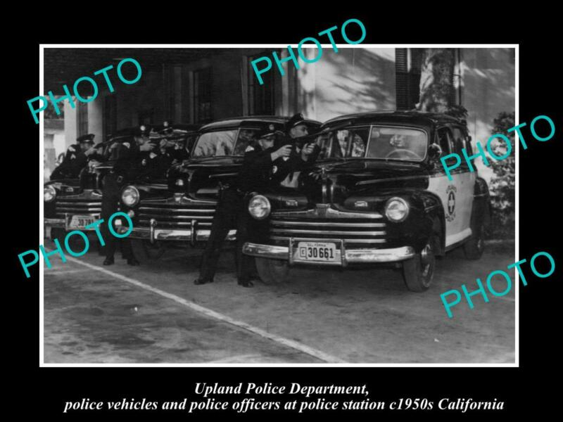 OLD POSTCARD SIZE PHOTO OF UPLAND CALIFORNIA, THE POLICE DEPARTMENT UNIT c1950s