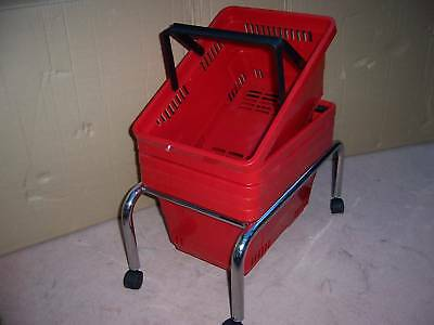 Pack of 5 Red Plastic Shopping Baskets & Mobile Stand