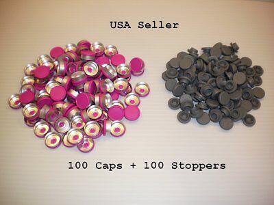 200 Set 20mm Serum Vial Snap On Stoppers Aluminum Flip Off Crimp Cap Seal Lot M