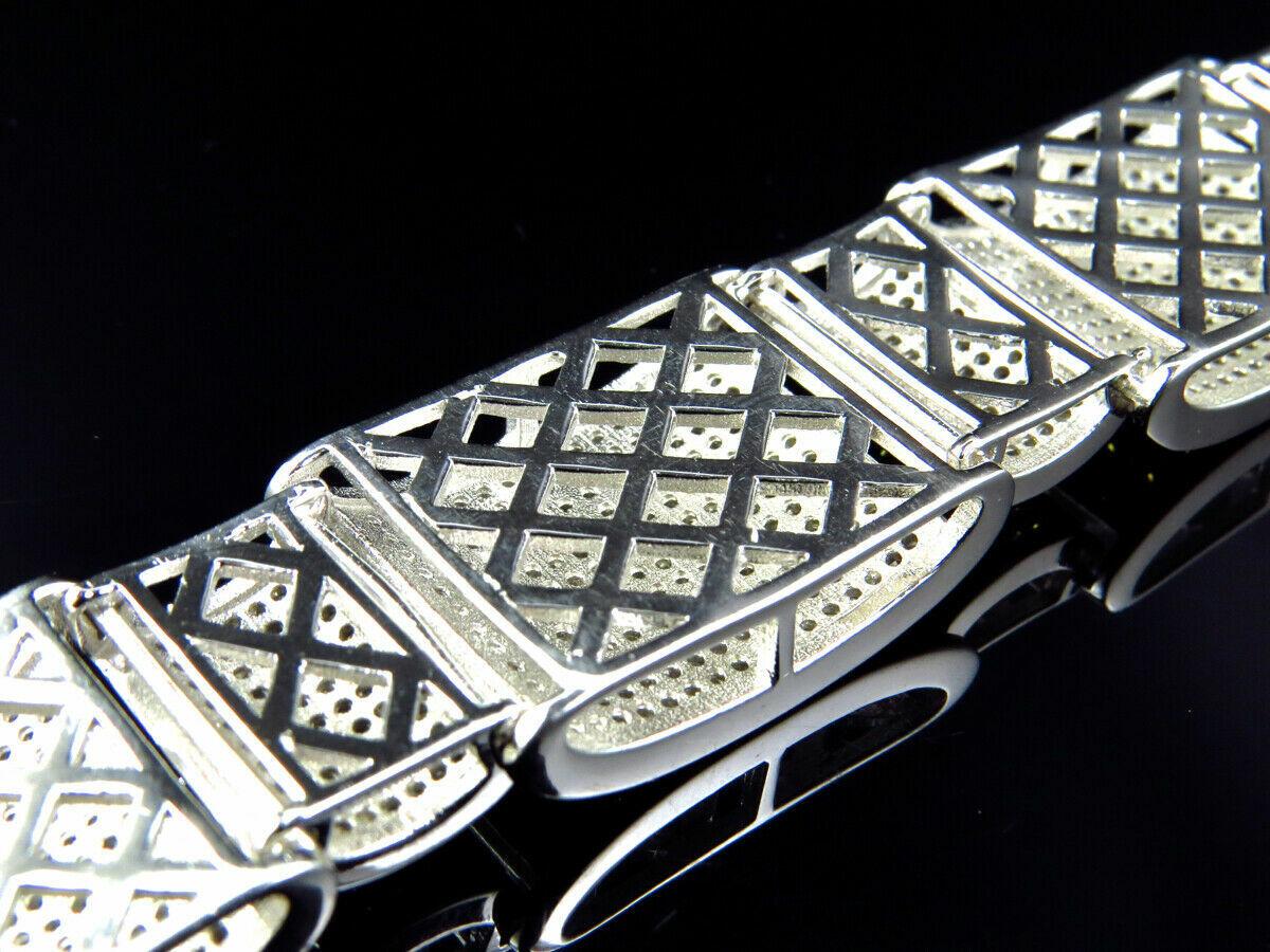 15Ct Round Cut Diamond 14K White Gold Over Men's Exclusive Link Bracelet 2