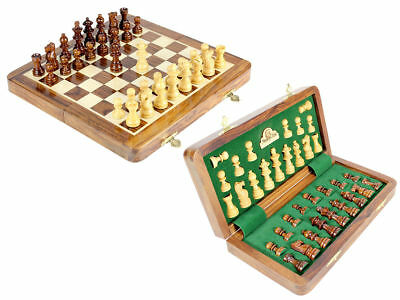 """10"""" Chess Set Travel Magnetic Folding Board Golden Rose Wood - House of Chess , used for sale  Shipping to United States"""