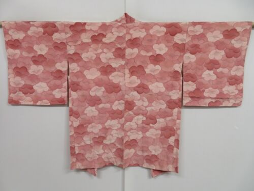1019i05z530 Vintage Japanese Kimono Silk HAORI Dull pink Plum blossom