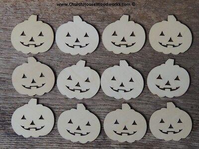 25 qty 2 inch Wood Pumpkin shapes Jack-o-lantern crafts Halloween Fall DIY
