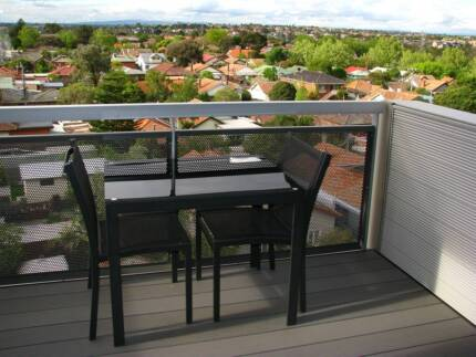 Modern outdoor glass table and 2 chairs Coburg Moreland Area Preview