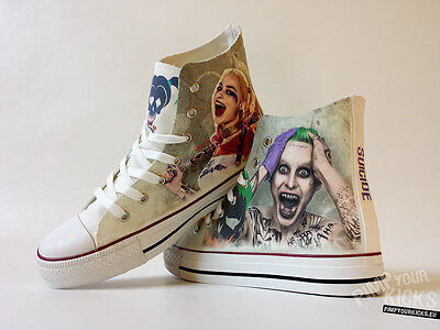 Suicide Squad, Joker, Harley Quinn, Custom Made Canvas Shoes