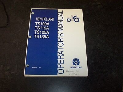 New Holland Ts125a Ts135a Cab 2wd Tractor Owner Operator User Guide Manual