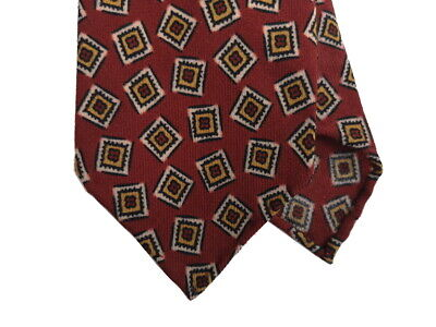 Drake's Tie Brick red geometric print Wool ()