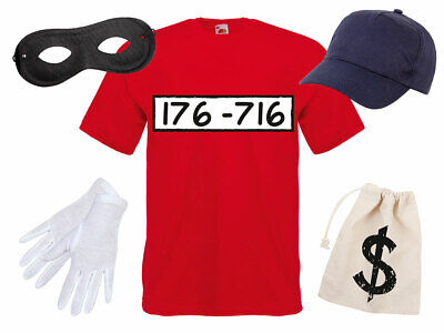 ostüm Outfit Maske Set Cap Karneval T-Shirt JGA Verkleidung (Maske Outfit)