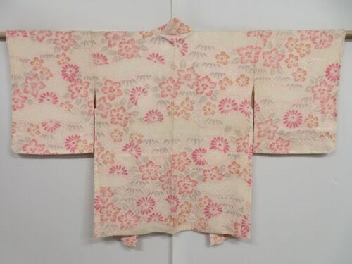 1020i08z540 Japanese Kimono Silk SHIBORI HAORI Light pink Flowers
