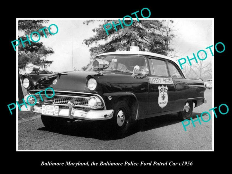OLD 8x6 HISTORIC PHOTO BALTIMORE MARYLAND THE FORD POLICE PATROL CAR c1956
