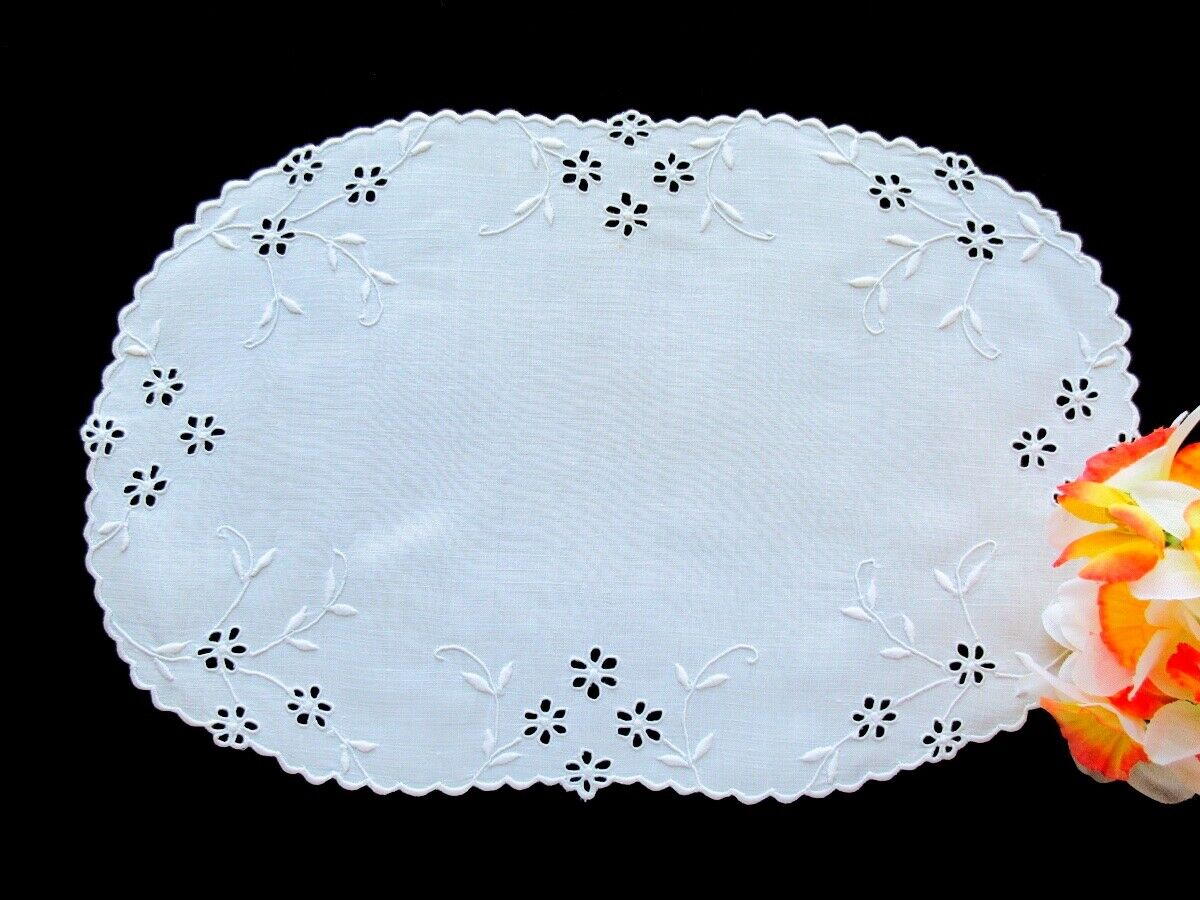 Antique Hand-Embroidered White Linen Doily Immaculate Cutwork Eyelet 12 X 7  - $16.00