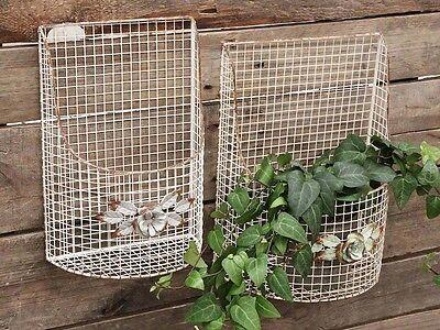 Chic Antique 2 er Set Wandkorb Metall Antikcreme Shabby Vintage Landhaus Deko