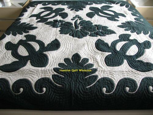 Hawaiian quilt FULL/TWIN BEDSPREAD 100% hand quilted/appliquéd HIBISCUS/TURTLES