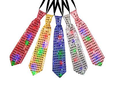 Cravatta a luci LED intermittenti   Colorata   con Pailettes   Elastico   33 cm