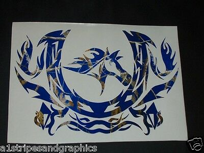 "Mustang Horse Shoe Tribal 18"" x 20"" Window Decal Decals Trailer Sticker Graphics"