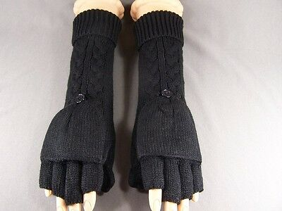 Black Cable Knit Long Fingerless Convertible Mittens Flip Thumb Gloves Texting