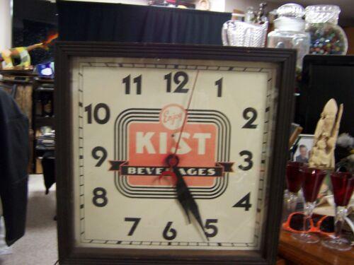 """Vintage """"Enjoy Kist Beverages"""" Clock WORKS Woodem frame 15 1/4 square manual"""