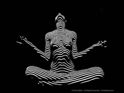 9937-DJA Fine Art Black White Stripe Zebra Woman Yoga Seated Pose Signed Maher