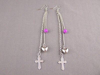 Purple Silver Cross triple multi chain dangle 4.5