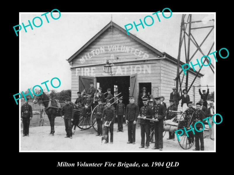 OLD LARGE HISTORIC PHOTO OF MILTON FIRE BRIGADE, STATION & CARTS c1904 QLD