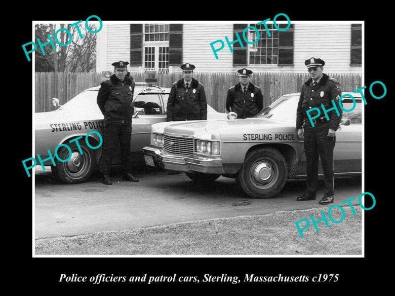 OLD 8x6 HISTORIC PHOTO OF STERLING MASSACHUSETTS POLICE CAR & OFFICERS c1975
