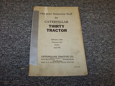 Cat Caterpillar Thirty 30 Tow Tractor Owner Operator User Guide Manual Book