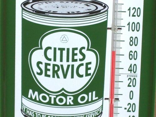 CITIES SERVICE -- Gas Station -- One Quart OIL CAN -- Temperature Sign -- NICE !