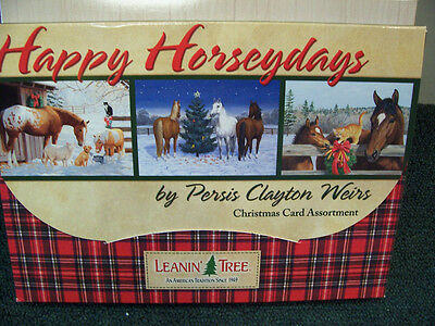 LEANIN TREE HAPPY HORSEYDAYS HORSE CHRISTMAS CARD SET OF 20 NEW !