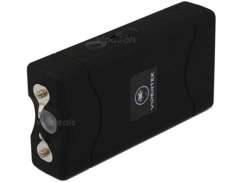 VIPERTEK BLACK VTS-880 50 BV Mini Rechargeable LED Police Stun Gun + Taser Case