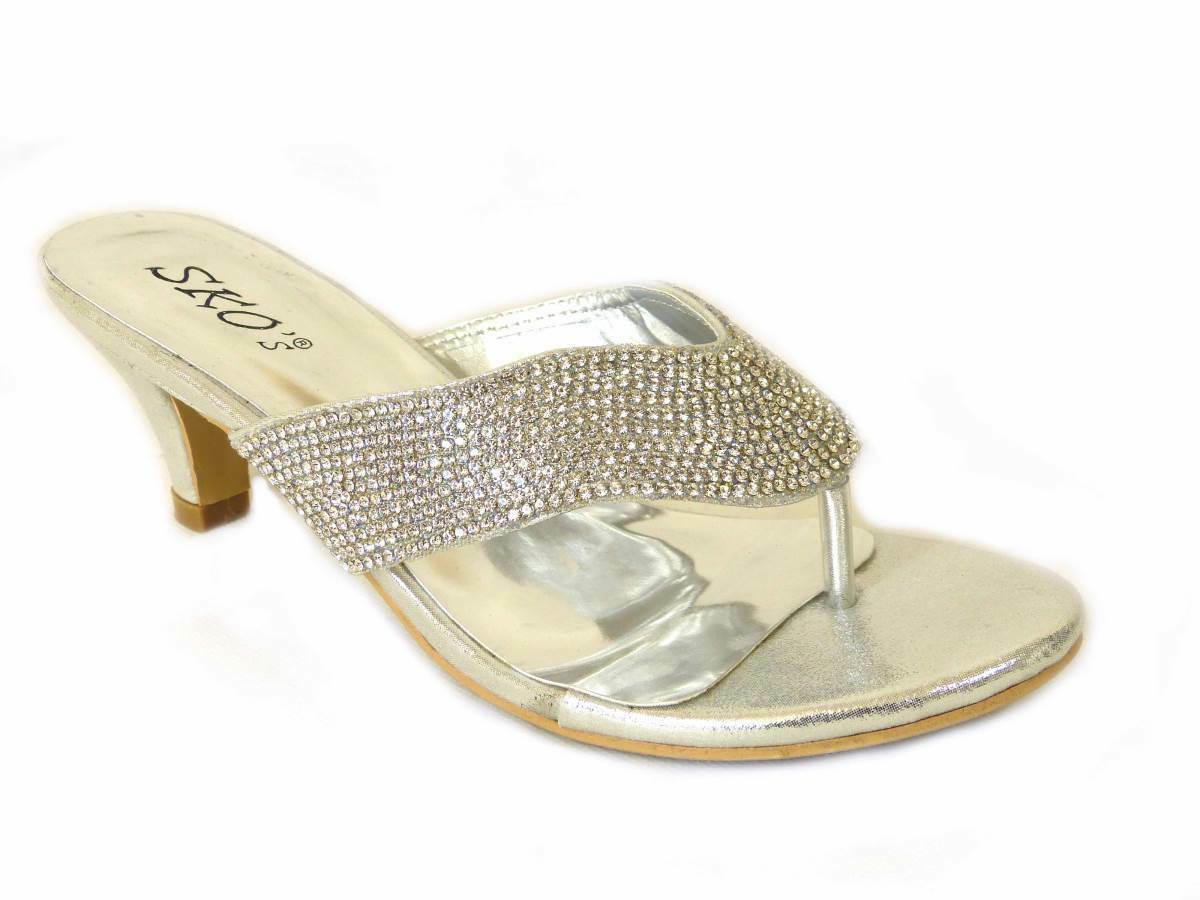 5464e20d11 LADIES DIAMANTE TOE POST SLIP ON WOMENS DRESSY HEEL WEDDING PARTY SHOES  SANDALS