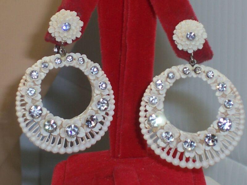 Vintage Big Pierced Celluloid Dangle Hoop Carved Flowers Clip on Earrings