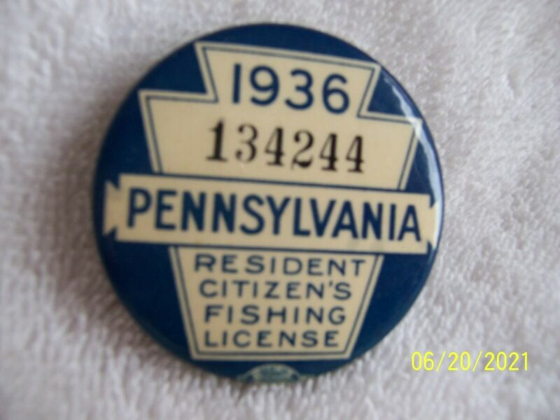 1936 PA FISHING LICENSE VINTAGE BUTTON WITH PAPER LICENSE