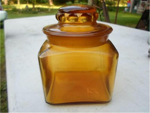 L E Smith Amber Glass DAKOTA Square Canister Apothecary Store Candy Jar w Lid