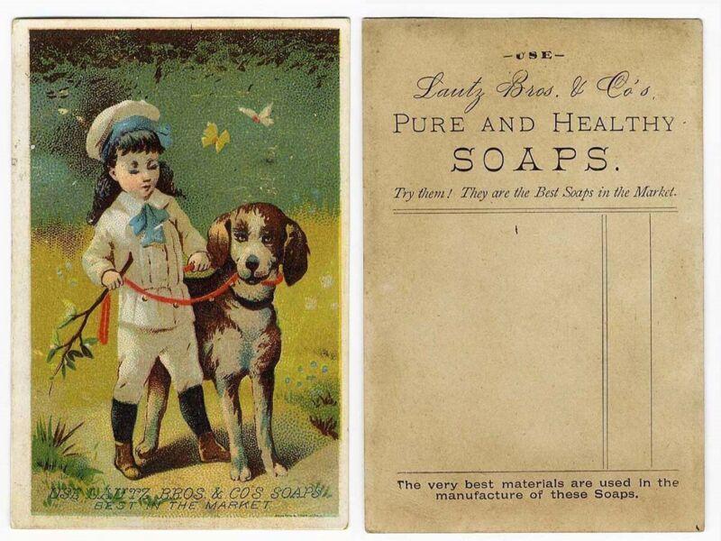 LAUTZ BROS SOAP Little Victorian Boy & Dog TRADE CARD 1880