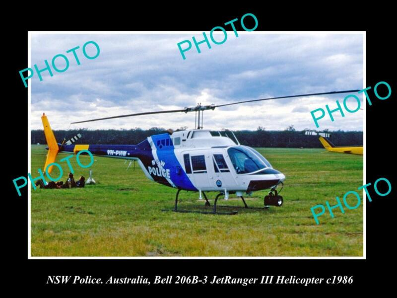 OLD LARGE HISTORIC PHOTO OF NEW SOUTH WALES POLICE BELL JETRANGER HELICOPTER