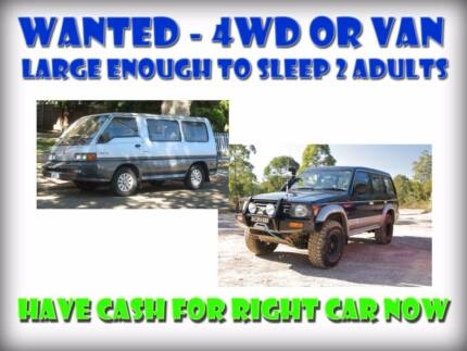 Wanted: Van or 4WD big enough to sleep 2 adults