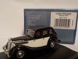 Wolseley 18/85 Black/Ivory 1:76 Oxford Diecast Model Car British