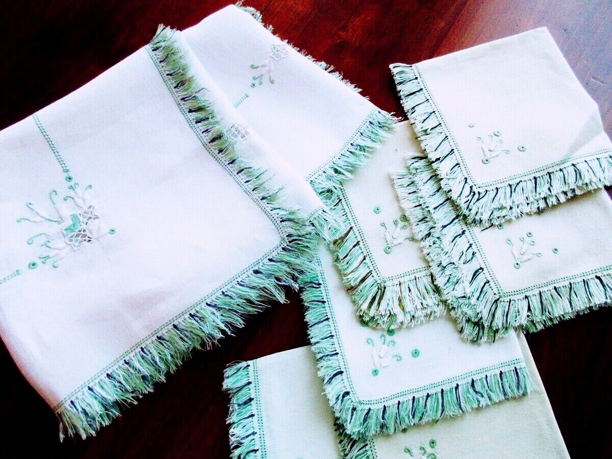 Italian Antique White Linen Tablecloth Napkins PUNTO ANTICO Green Embroidery - $39.00