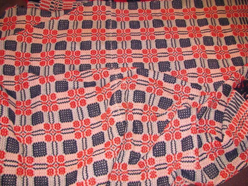 Antique American Homespun Wool Coverlet Circa 1860