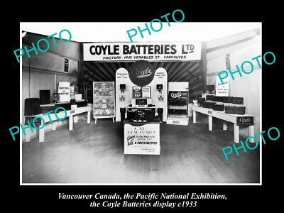 6x4 HISTORIC PHOTO OF CANADA INDUSTY, VANCOUVER, COYLE BATTERIES DISPLAY c1933