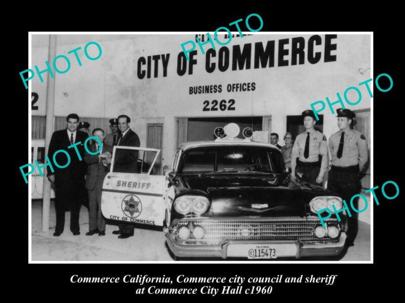 OLD POSTCARD SIZE PHOTO OF COMMERCE CALIFORNIA THE POLICE & CITY HALL c1960