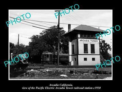 OLD HISTORIC PHOTO OF ARCADIA CALIFORNIA, PACIFIC ELECTRIC ARCADIA TOWER c1950