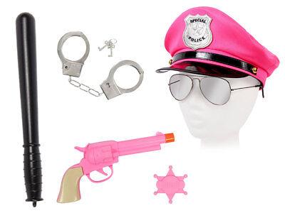 Damen Polizei Set Kostüm (KV-113) Brille Schlagstock Handschellen Pistole Mütze