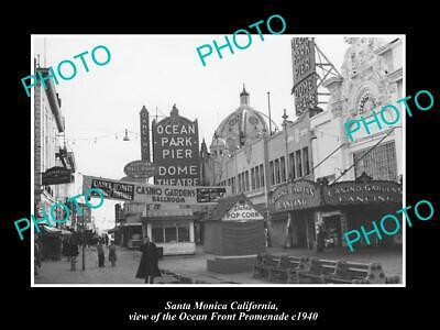 OLD POSTCARD SIZE PHOTO OF SANTA MONICA CALIFORNIA THE OCEAN PROMENADE (The Promenade Santa Monica)