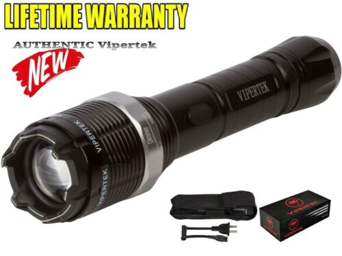 VIPERTEK 65 Billion Volt Heavy Duty  Stun Gun W/ Zoom Adj Flashlight + Case