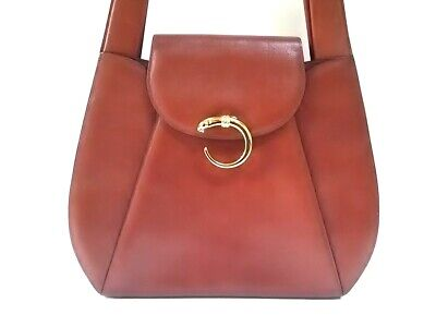 Auth Cartier Panthere Brown Leather Shoulder Bag