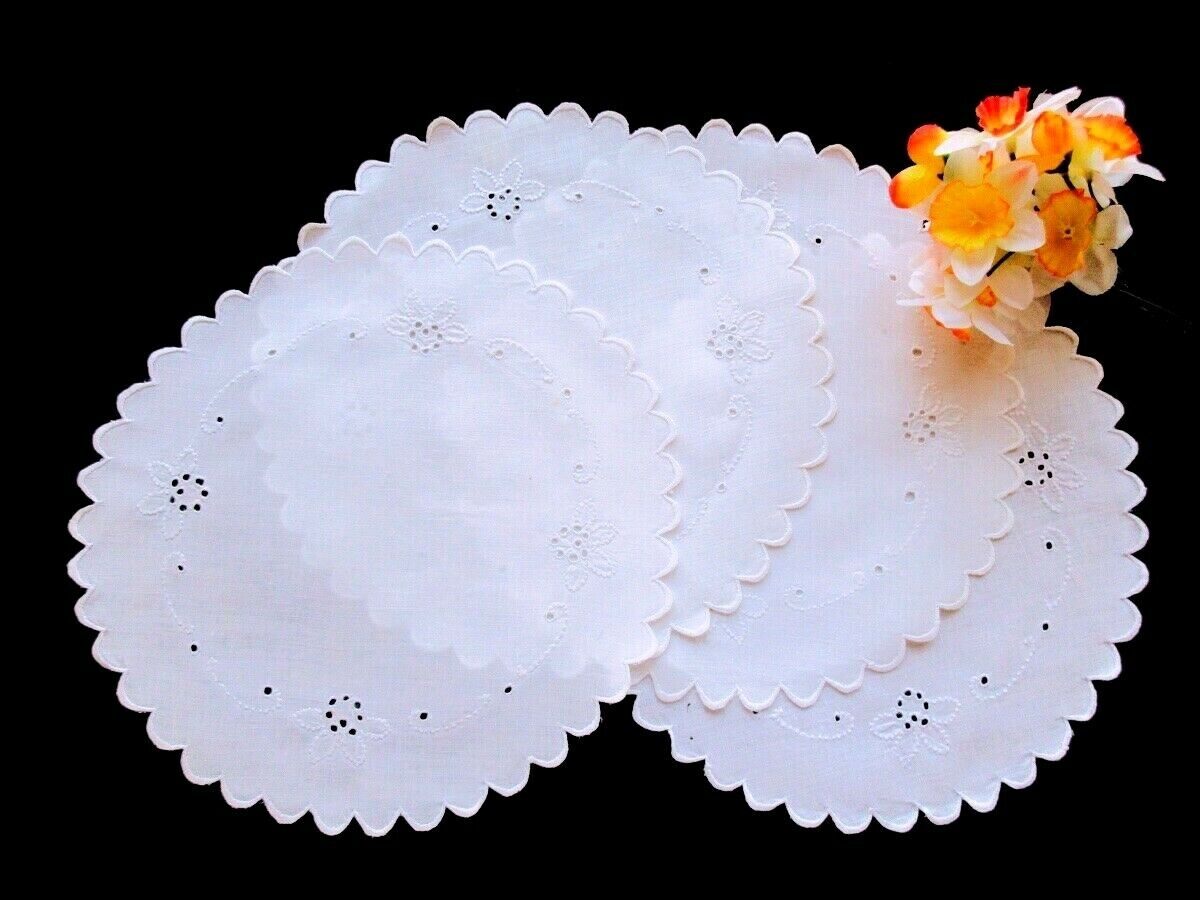 Set FOUR Antique Hand-Embroidered White Linen Doilies Sweet Cutwork Eyelet 9.5  - $19.00