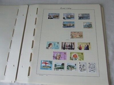 GUERNSEY, JERSEY, ISLE OF MAN USED COLLECTION ON SCHAUBEK STAMP ALBUM LEAVES